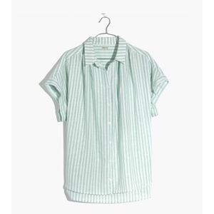 madewell central shirt in mint stripe